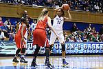 17 December 2015: Duke's Azura Stevens (11) and Liberty's Catherine Kearney (44). The Duke University Blue Devils hosted the Liberty University Flames at Cameron Indoor Stadium in Durham, North Carolina in a 2015-16 NCAA Division I Women's Basketball game. Duke won the game 79-41.