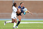 28 October 2012: Virginia's Danielle Colaprico (right) and UNC's Crystal Dunn (19). The University of North Carolina Tar Heels played the University of Virginia Cavaliers at Fetzer Field in Chapel Hill, North Carolina in a 2012 NCAA Division I Women's Soccer game. Virginia defeated UNC 1-0 in their Atlantic Coast Conference quarterfinal match.