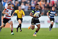 Kyle Eastmond of Bath Rugby goes on the attack. West Country Challenge Cup match, between Bath Rugby and Gloucester Rugby on September 26, 2015 at the Recreation Ground in Bath, England. Photo by: Patrick Khachfe / Onside Images