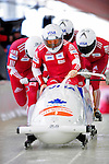 19 December 2010: Rush Lyndon leads his 4-Man Bobsled team in the push-off, taking 3rd place for Canada at the Viessmann FIBT World Cup Championships on Mount Van Hoevenberg in Lake Placid, New York, USA. Mandatory Credit: Ed Wolfstein Photo