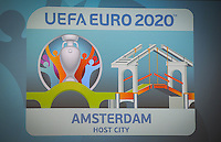 20161216 - AMSTERDAM , NETHERLANDS : illustration picture from the logo of Amsterdam Host City during the UEFA EURO 2020 Host City Logo Launch event at the Hermitage Amsterdam Venue in Amsterdam , The Netherlands , Friday 16 th December 2016 . PHOTO UEFA.COM | SPORTPIX.BE | DAVID CATRY