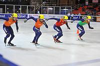 SHORTTRACK: AMSTERDAM: 05-01-2014, Jaap Edenbaan, NK Shorttrack, start finale 500 meter, Daan Breeuwsma, Sjinkie Knegt, Niels Kerstholt, Freek van der Wart, ©foto Martin de Jong