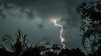 Coolangatta, Queensland, Australia.(Saturday, January 30, 2016): Two converging weather fronts, one from the North West and one from the South formed into a Supercell thunderstorm with driving rain and thunder and lightning. The thunder rolled continuously for more than an hour while there was massive lightning strikes up and down the Gold Coast before the storm moved out to sea over Coolangatta.Photo: joliphotos.com