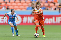 Houston, TX - Saturday April 15, 2017: Andressa brings the ball up the field during a regular season National Women's Soccer League (NWSL) match won by the Houston Dash 2-0 over the Chicago Red Stars at BBVA Compass Stadium.