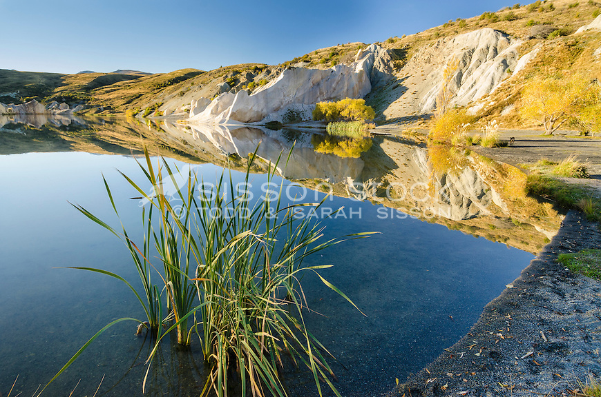 Lake afternoon at the Blue Lake, St Bathans, Central Otago, South Island, New Zealand - stock photo, canvas, fine art print