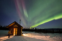 Man views the aurora in the White Mountains National Recreation Area