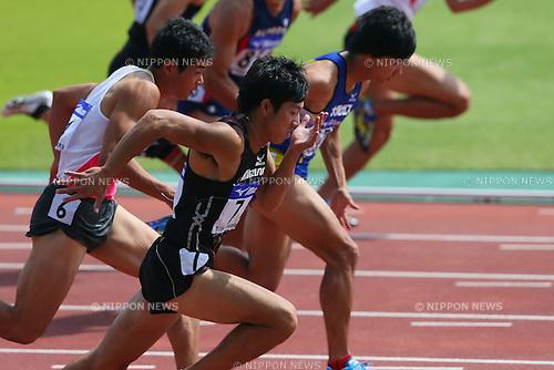 Sota Kawatsura, <br /> SEPTEMBER 22, 2013 - Athletics : <br /> The 61st All Japan Industrial Athletics Championship <br /> Men's 100m <br /> at Kumagaya Sports Culture Park Athletics Stadium, Saitama, Japan. <br /> (Photo by YUTAKA/AFLO SPORT) [1040]