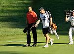 Tiger WOODS (USA) und sein Caddie, 4.Runde, 88th PGA Championship Golf, Medinah Country Club, IL, USA