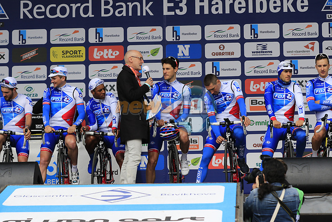 FDJ team presented to the crowd before the start of the 60th edition of the Record Bank E3 Harelbeke 2017, Flanders, Belgium. 24th March 2017.<br /> Picture: Eoin Clarke | Cyclefile<br /> <br /> <br /> All photos usage must carry mandatory copyright credit (&copy; Cyclefile | Eoin Clarke)