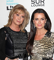 Kathy Hilton, Kyle Richards.Bravo's Andy Cohen's Book Release Party For &quot;Most Talkative: Stories From The Front Lines Of Pop Held at SUR Lounge, West Hollywood, California, USA..May 14th, 2012.half length black  leather dress tiger animal print dress  beige .CAP/ADM/KB.&copy;Kevan Brooks/AdMedia/Capital Pictures.