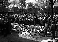 Chaplains of the U.S. Third Army conduct burial services for the 120 Russian and Polish Jews, victims of SS troopers' killing in a wood near Neunburg, Germany.  April 29, 1945.  Pfc. Wendell N. Hustead.  (Army)<br /> NARA FILE #:  111-SC-266662<br /> WAR &amp; CONFLICT BOOK #:  1126