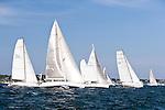 Cutlass, Heron, Delawana, and Toothface, class 15, sailing at the start of the Newport Bermuda Race 2010. The race began in Newport, Rhode Island on June 18, 2010.