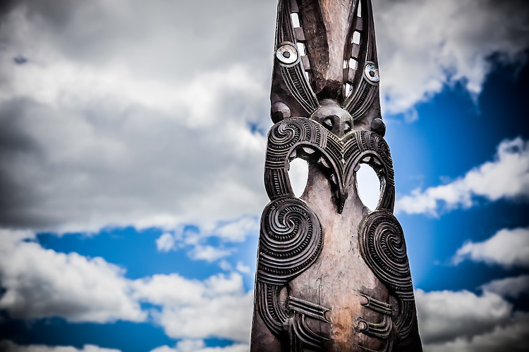 Maori carving, Waimungu Volcanic Valley, Rotorua, New Zealand - stock photo, canvas, fine art print