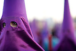 Closeup of a hooded penitent, Good Friday, Seville, Spain