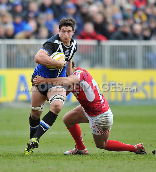 Francois Louw in possession. Aviva Premiership match, between Bath Rugby and London Welsh on March 30, 2013 at the Recreation Ground in Bath, England. Photo by: Patrick Khachfe / Onside Images