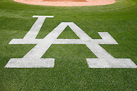 15 June 2011: Dodgers logo on the field behind home plate before a Major League Baseball game LA Dodgers vs the Cincinnati  Reds at Dodger Stadium during a day game. **Editorial Use Only**
