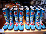 Colourful wellington boots (wellies) in a shop window in Reykjavik, Iceland