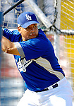13 March 2007: Los Angeles Dodgers first baseman Olmedo Saenz takes batting practice prior to facing the Detroit Tigers in a spring training game at Holman Stadium in Vero Beach, Florida.<br /> <br /> Mandatory Photo Credit: Ed Wolfstein Photo