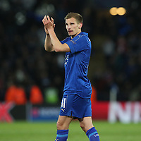 Leicester City's Marc Albrighton applauds the fans at the final whistle <br /> <br /> Photographer Stephen White/CameraSport<br /> <br /> UEFA Champions League Quarter Final Second Leg - Leicester City v Atletico Madrid - Tuesday 18th April 2017 - King Power Stadium - Leicester <br />  <br /> World Copyright &copy; 2017 CameraSport. All rights reserved. 43 Linden Ave. Countesthorpe. Leicester. England. LE8 5PG - Tel: +44 (0) 116 277 4147 - admin@camerasport.com - www.camerasport.com