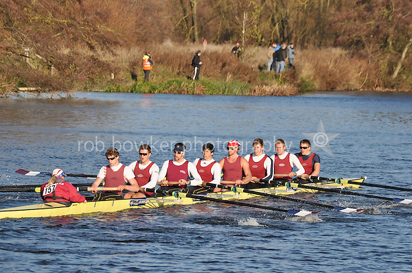 157 .OXB-Downey .IM1.8+ .Oxford Brookes Univ. Wallingford Head of the River. Sunday 27 November 2011. 4250 metres upstream on the Thames from Moulsford railway bridge to Oxford University's Fleming Boathouse in Wallingford. Event run by Wallingford Rowing Club.