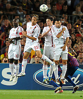FUSSBALL   CHAMPIONS LEAGUE   SAISON 2011/2012   GRUPPE  H 13.09.2011 FC Barcelona - AC Mailand  Clarence Seedorf, Massimo Ambrosini , Mark Van Bommel, Gennaro Gattuso (v. li., AC Mailand)