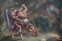 DELACROIX, Eugene, 1798-1863, Le combat de Jacob et l'Ange (Jacob fighting the angel), 1855-61, fresco, detail, in Eglise Saint-Sulpice (St Sulpitius' Church), c.1646-1745, late Baroque church on the Left Bank, Paris, France. Picture by Manuel Cohen