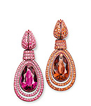 Hemmerle (Munich, Germany, founded 1893); Earrings, 2013; Copper, white gold, sapphires, spinels, rubellite, tourmaline; Each, approx.: 6.7 × 2.9 × 1.3 cm (2 5/8 × 1 1/8 × 1/2 in.)