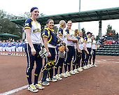 Michigan Wolverines softball team lines up during introductions before the season opener against the Florida Gators on February 8, 2014 at the USF Softball Stadium in Tampa, Florida.  Florida defeated Michigan 9-4 in extra innings.  (Copyright Mike Janes Photography)
