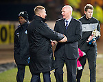 Dundee v St Johnstone.....27.02.13      SPL.John Brown shakes hands with Steve Lomas before kick off.Picture by Graeme Hart..Copyright Perthshire Picture Agency.Tel: 01738 623350  Mobile: 07990 594431