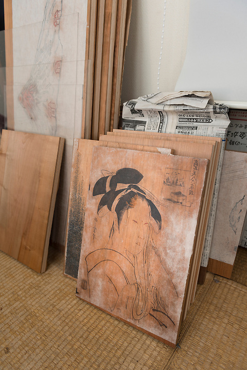 Woodblocks at the Adachi Foundation for the Preservation of Woodcut Printing, Tokyo, Japan, July 15, 2014. The Foundation works to preserve the original techniques of Japanese woodblock printing. As well as recreating classic ukiyo-e from the Edo period, they train and employ young artisans, and also educate about the art form.