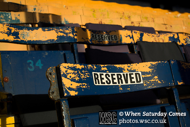 Southend United 1 Burton Albion 1, 22/02/2016. Roots Hall, League One. Numbered wooden seats with the word reserved on them in the main stand at Roots Hall stadium, pictured before Southend United took on Burton Albion in a League 1 fixture. Founded in 1906, Southend United moved into their current ground in 1955, the construction of which was funded by the club's supporters. Southend won this match by 3-1, watched by a crowd of 6503. Photo by Colin McPherson.