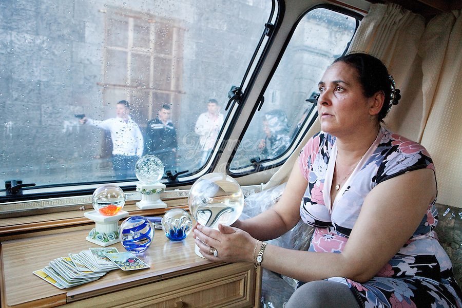 3/10/2010.  Fortune teller Margaret Lee from Lucan, County Dublin is pictured in her caravan at the Ballinasloe Horse Fair, Ballinasloe, County Galway, Ireland. Picture James Horan