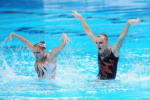 Aleksandr Maltsev & Darina Valitova (RUS), JULY 30, 2015 - Synchronised Swimming : 16th FINA World Championships Kazan 2015 Mixed Duets Free Routine Final at Kazan Arena in Kazan, Russia. (Photo by Yohei Osada/AFLO SPORT)