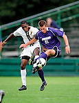11 September 2009: University of Portland Pilots' midfielder Jarad vanSchaik (21), a Junior from Tualatin, OR, battles University of Vermont Catamount forward/midfielder T.J. Gore (7), a Senior from Macomb, MI, in the first round of the 2009 Morgan Stanley Smith Barney Soccer Classic held at Centennial Field in Burlington, Vermont. The Catamounts and Pilots battled to a 1-1 double-overtime tie. Mandatory Photo Credit: Ed Wolfstein Photo