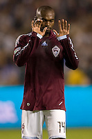 Omar Cummings of the Colorado Rapids reacts narrowly missing a goal. The Colorado Rapids defeated the LA Galaxy 3-1 at Home Depot Center stadium in Carson, California on Saturday October 16, 2010.