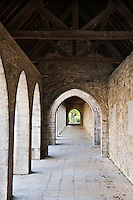 A stone archway in Maredsous Abbey; a Benedictine monastery at Denée near Namur in Belgium