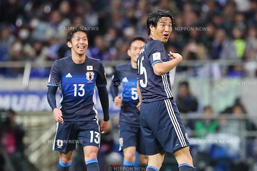 Mu Kanazaki (JPN), <br /> MARCH 24, 2016 - Football / Soccer : <br /> FIFA World Cup Russia 2018 Asian Qualifier Second Round Group E match between<br /> Japan 5-0 Afghanistan <br /> at Saitama Stadium 2002 in Saitama, Japan.<br /> (Photo by Yohei Osada/AFLO SPORT)