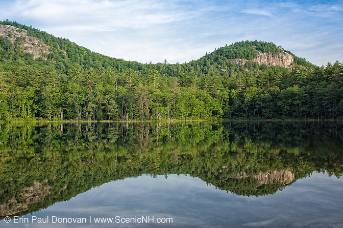 Reflection of Cathedral Ledge in Echo Lake at Echo Lake State Park in North Conway, New Hampshire USA.