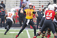 College Park, MD - April 22, 2017: Maryland Terrapins quarterback Max Bortenschlager (18) attempts a pass during game the Maryland Spring Game at  Capital One Field at Maryland Stadium in College Park, MD.  (Photo by Elliott Brown/Media Images International)