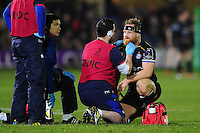 Ross Batty of Bath Rugby receives treatment during a  break in play. European Rugby Challenge Cup match, between Bath Rugby and Cardiff Blues on December 15, 2016 at the Recreation Ground in Bath, England. Photo by: Patrick Khachfe / Onside Images