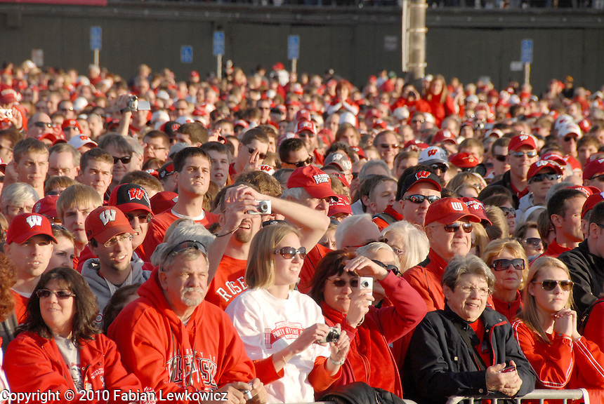 Thousands of University of Wisconsin Badger fans at the  Santa Monica Pier during their official Rose Bowl Pep Rally   on Thursday, December 30, 2010.
