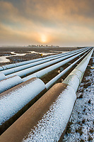 Pipe array in the Prudhoe Bay oil field, arctic coastal plain, Alaska.