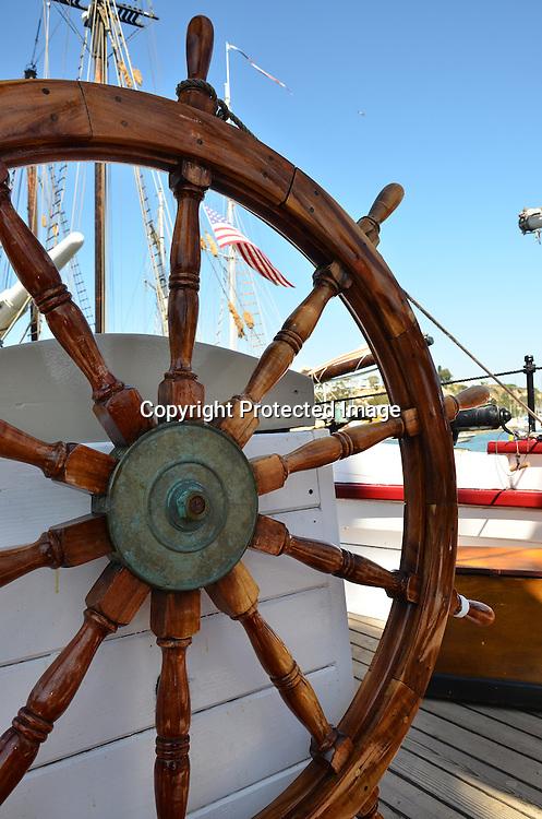 Stock photos of a schooner Stock photo of a Sailboat Navigation Wheel Helm