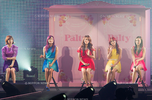 """March 3, 2012, Yokohama, Japan - Korean pop group """"KARA"""" performs during a special live at the Tokyo Girls Collection fashion show. The theme of this 14th Tokyo Girls Collection is """"Sherbet Garden."""" (Photo by Christopher Jue/Nippon News)"""