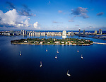 Aerial of the residential islands of Biscayne Bay off McArthur Causeway,  Star Island, Hibiscus island, Venetian Causeway, Miami Beach, Florida