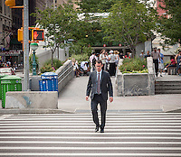 """Pedestrians cross West 96th Street at Broadway in New York on Monday, August 4, 2014. As part of Mayor Bill de Blasio's """"Vision Zero"""" initiative the speed limit of 30 mph has been reduced to 25 mph. Broadway from West 59th Street to West 220 Street has been posted as a """"Slow Zone"""". with the other """"Slow Zone"""" starting today atSouthern Blvd. in the Bronx. Two dozen zones will be instituted in the five boroughs over the course of several months. 22 pedestrians have been killed since 2008 in the Broadway """"Slow Zone"""" and speeding is the top cause of traffic injuries and fatalities.   (© Richard B. Levine)"""