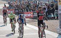 Victory sprint for Greg Van Avermaet (BEL/BMC), beating Zdenek Stybar (CZE/Quick Step Floors) to the finish line<br /> <br /> 115th Paris-Roubaix 2017 (1.UWT)<br /> One Day Race: Compi&egrave;gne &rsaquo; Roubaix (257km)