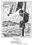 """Little Billee. """"... There's land I see! Jerusalem and Madagascar, and North and South Amerikee! And the British Fleet a-riding at anchor with Admiral Nelson, K.C.B."""" Thackeray's Ballad """"The Three Sailors."""" (France as a boy sailor wears the cap Free France)"""