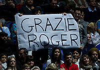Fans supporting Roger Federer (SUI) against Jo-Wilfred Tsonga (FRA) in the Finals of the Barclays ATP World Tour Finals. Roger Federer beat Jo-Wilfred Tsonga 6-3 6-7 6-3..@AMN IMAGES, Frey, Advantage Media Network, Level 1, Barry House, 20-22 Worple Road, London, SW19 4DH.Tel - +44 208 947 0100.email - mfrey@advantagemedianet.com.www.amnimages.photoshelter.com.