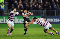 Ben Tapuai of Bath Rugby takes on the Cardiff Blues defence. European Rugby Challenge Cup match, between Bath Rugby and Cardiff Blues on December 15, 2016 at the Recreation Ground in Bath, England. Photo by: Patrick Khachfe / Onside Images